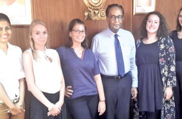 Minister of Prison Reforms D. M. Swaminathan (third from right) with German female social workers Nastasja Berwing, Miriam, Bianca Vondenhoff, Nina Boesser with a Sri Lankan social worker.