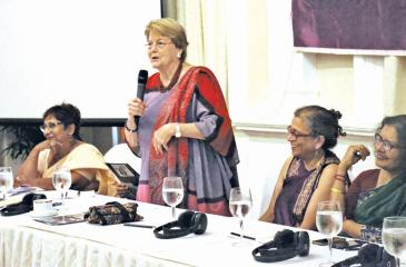 Charlotte Bunch - renowned feminist activist and organizer who together with Sunila and others brought women's human rights into the mainstream human rights discourse, Founder of the Centre for Women's Global Leadership at Rutgers University, USA. Life-long friendships with the South Asian feminists led to many collaborations and cross-border co-creations.