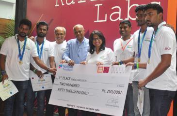 Team Nations Trust Bank with the winners of Nations Trust Bank FinTech Hack 2017 - 'Tech Devs' from the University of Kelaniya