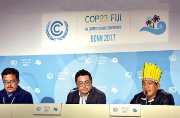 Leaders from indigenous communities speak at a press conference in COP 23. Pic: Stella Paul (IDN-INPS)