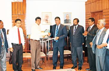 Capt. Sisira Perera, COO - Public Contract of Link Engineering, Arindam Bagchi, Acting High Commissioner of India, D.C. Manjunath, Counsellor (Development Cooperation), High Commission of India, Colombo, S. Thumilan, Chairman, Blue Ocean Group, Ranjan Dharmawardana,  Chief of Staff to the President of Sri Lanka, Upul  Wijesekara, COO - Private Contract of Link Engineering along with Officials of the Blue Ocean Group