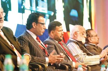 From left: Minister for Finance Government of Jammu and Kashmir Haseeb A. Drabu, Founder President and CEO of Dubai based Coal and Oil Group/ Leader of UEF Ahmed A.R. Buhari and Minister of Industry and Commerce Rishad Bathiudeen at the UEF Trade Forum 2017 in Chennai.