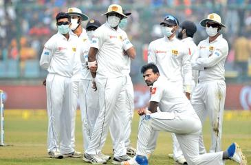 The Sri Lankan players were seen fielding while wearing anti-pollution masks during India's batting with most of their players complaining of breathlessness.