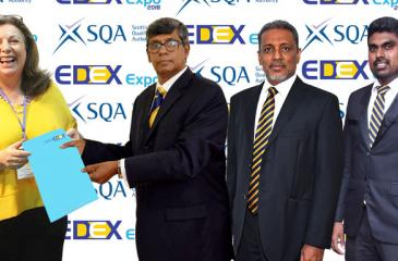 Margaret Curran, International Regional Manager, South Asia SQA, Mahinda Galagedara, Chairman EDEX, Athula Munasinghe, Secretary, Royal College Union, Nishan Jayalath, Director Sponsorships EDEX at the sponsorship awarding ceremony.
