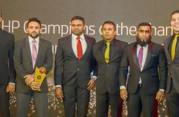 Mohamed Kalim - Senior Sales Executive, M. Ali Azhar - Business Head, Brands and Distribution, GehanThangappan - Business Development Manager, Manjula Jayasinghe - Country Business Manager HP Inc, Fahmy Ismail – Managing Director and Christian Edman Reyes - Managing Director, Asian Emerging Countries HP Inc.with the award