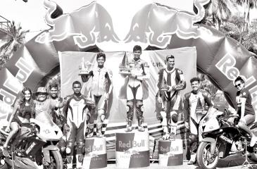Juvenile riders Gunewardena brothers Jaden and Aaron aged 14 and 15 who created the major upset on the Mirigama Circuit out riding top notch champion riders on their 600cc bikes in the Open Motorcycles event up to 1000cc class on the podium with second runner up Maduranga Caldera and other competitors  who raced with these two youngsters.