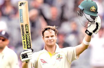 Steve Smith celebrtes after scoring his century  AFP