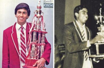 Past winners of the Observer Schoolboy Cricketer : Roshan Mahanama 83/84 and Asanka Gurusinha 1985