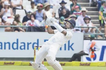 India's Hardik Pandya batting on the second day of the first cricket Test against South Africa at Cape Town on Saturday. AFP