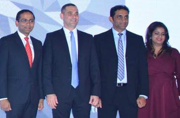 HSBC Country Head for Retail Banking and Wealth Management Nadeesha Senaratne (extreme left) with officials at the launch of the cashback credit card.