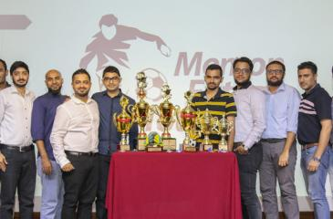 Captains of participating ten teams with promoter Saif  Yousuf posing with Trophies (5th from left). Others from left: Jawidh Farook, Bilal Shakoor, Aadil Akram, Afthab Abu Shah, Aabid Akram, Sajjaad Sabeer, Moshin Mustaq , Abdul Gaffar Abubucker, Saqib Yunus, Sheedh Farook and Salman Afzal.