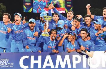 Under 19 Cricket World Cup champions India celebrate their win over  Australia in the final on Saturday.