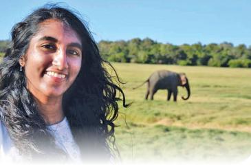 Berkeley Prep sophomore Anuksha Wickramasinghe in Sri Lanka with wildlife in the background. Photo courtesy of Anuksha Wickramasinghe.