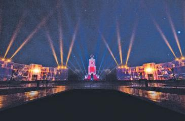 Oman's largest projection mapping project to date, encompassing two  buildings and 620 feet, delivered by Sri Lanka's Cyber Illusions and Oman's GT Stage Tech for the Military Technical College in Muscat, Oman.
