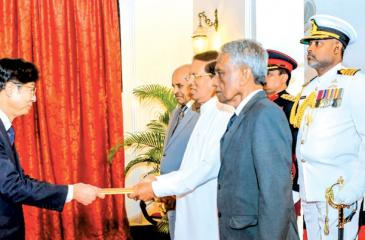 Korean Ambassador presenting his credentials to President Maithripala Sirisena at President's House, Colombo