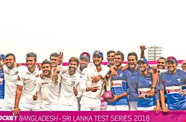 The Sri Lanka team poses with the series trophy after they won the second cricket Test against Bangladesh by 215 runs on the third day of the second Test to clinch the two-match series 1-0 at the Sher-e-Bangla national cricket stadium, Dhaka on Saturday. – AFP