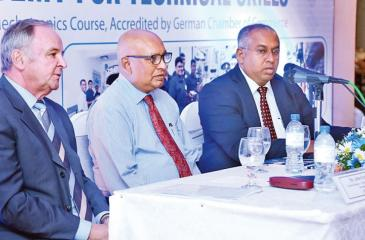 PIC: VIPULA AMARASINGHE      From left: General Manager Technical Competency Development – DIMO Automobile Training School (DATS) Jobst Ferber, Chairman and Managing Director – DIMO Ranjith Pandithage and Group CEO – DIMO Gahanath Pandithage at the lanuch .