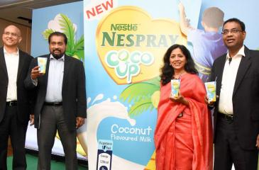 From left: Ruwan Welikala, Nestlé Vice President – Ambient Dairy; Deepal Abeywickrema, Senior Vice President – Sales; Shivani Hegde, Nestlé Managing Director; Bandula Egodage, Nestlé Vice President – Corporate Affairs and Communications at the launch.