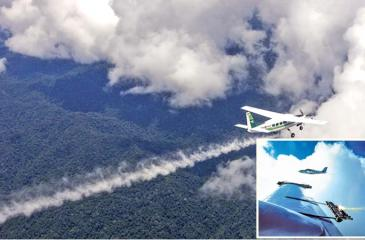 Cloud seeding material being  fired from an aircraft's wing Image courtesy : Jim Brandenburg/Minden Pictures/Newscom