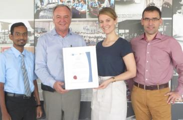 DATS Technical Competency Development General Manager Jobst Ferber (second from left) receives the certificate from German Chamber of Commerce Vocational Education and Training (VET) Head Judith Evers. German Chamber of Commerce Vocational Education and Training Consultant Holger Klitschke and DATS Assistant Training Manager, Vimukthi Randeny are also in the picture.