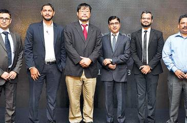 Manager Marketing, Casio SAARC, Uttam Kumar, Group Head of  Strategy, Avarna Ventures, Yaasir Nizam, Managing Director, Casio SAARC,  Masao Naka, Vice President, Casio SAARC, Kulbhushan Seth, Director  Operations, Blink, Muhammed Mansoor and Channel Head, Casio SAARC,  Nikhil Sharma at the launch.