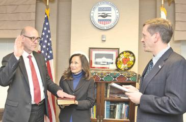Reed Aeschliman, a career member of the Senior Foreign Service, being  sworn in as Mission Director for USAID/Sri Lanka and the Maldives by USAID's Administrator Mark Green.