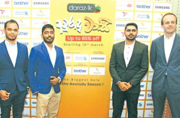 From left: Head of Operations, Darshika Attanayake, Head of Commercial, Yohan Phillips, Marketing Manager Naresh Surendran and Country Manager of Daraz.lk, Bart Van Dijk at the launch of Avurudu Wasi promotion. PIC: CHAMINDA NIROSHANA