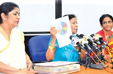 President, Sri Lanka Netball Federationaddressing the Media regarding the inter Association Peace and Unity Netball tourney. Also in the picture are vice President Lakshmi Victoria and Secretary SLNF Yayanthi Somasekeran.