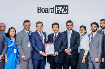 Chief Operating Officer of BoardPAC, Rajitha Kuruppumulle (6th from left), with General Manager Shan Nanayakkara and Manager, Sales and Marketing  of Bureau Veritas Gayan Balachandra and representatives of the BoardPAC ISO Committee at the presentation of the 1SO/IEC 27001:2013 information  security certification.