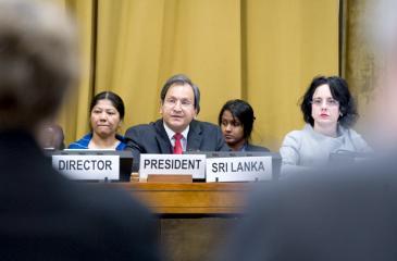 Ravinatha Aryasinha, Permanent Representative of Sri Lanka and President of the Conference on Disarmament, 2018 Session, Palais des Nations on 23 January 2018.                                    Photo : Violaine Martin
