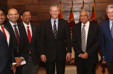 The Coca-Cola team with the Prime Minister. From left: Lakshan  Madurasinghe, Country Public Affairs and Communication Manager,  Coca-Cola Beverages Sri Lanka Limited, Ishteyaque Amjad, Vice President, Public Affairs and Communication, Coca-Cola India and South West Asia, T. Krishnakumar, President, Coca-Cola India and Southwest Asia, James Quincey, President and Chief Executive Officer, The Coca-Cola Company, Ranil Wickremesinghe, Prime Minister and John Murphy, President, Asia Pacific Group, The Coca-Col