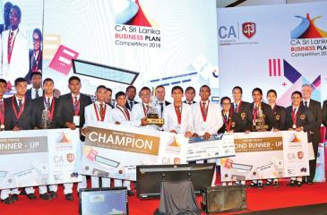 Winners of the CA Sri Lanka Business Plan Competition 2018, Ananda College, flanked by first runner -up  Richmond College, and second runner-up Visakha Vidyalaya.