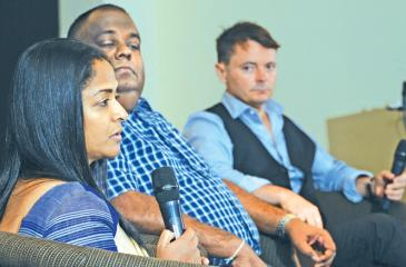 From left:  Head of IT, Ceylon  Biscuits Limited, Chandrima Rodrigo;  CIO, Hirdaramani Group, Samath Fernando; Industry  Solutions Director,  Microsoft APAC,  Dean Shaw.