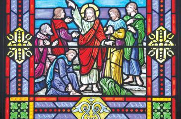 Stained glass at First Congregational Church on North K Street in Lake Worth showing the resurrected Christ