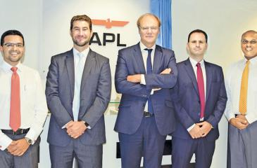 From left: Ikram Ghazali, Director, APL and CMA CGM for Sri Lanka and the  Maldives; Thomas Casutto, Chief Commercial Officer, APL; Nicolas  Sartini, Chief Executive Officer, APL; Michel Azrak, Regional  Commercial Director, APL; and Eranga Wijesinghe, Head of Commercial,  APL for Sri Lanka and the Maldives at the opening of the new office.