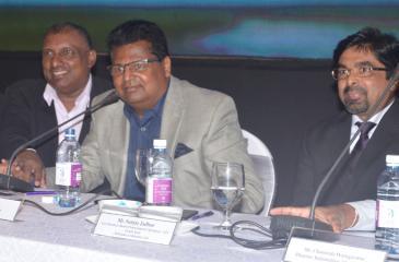 The head table: (From left): Deputy Chairman Aravinda de Silva, Chairman Nalin Welgama and Head of International Operations, AFS (South Asia), Sanjay Jadhav. Pic: Vipula Amarasinghe