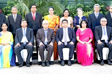 35 years    : First row, from left seated: D. Kamal Wijesuriya (Snr.DGM Printing & Maintenance), Mrs. Amitha Kanthilatha, (Manager, Human Capital), Narada Sumanaratne (DGM/HC), Sugath Chandrasiri (Director), Krishantha Cooray (Chairman & Managing Director), Mrs. Umashanthie Rajamanthri (Director), Abhaya Amaradasa (General Manager), Mrs. Kumudu Gunawardana (Company Secretary). Second row: M.H.M. Uvais (Printing), S.A.L. Ratnakumara (Corporate Planning), K.A.P. Kahandawaarachchi (Sales), S.K. Mandalawatta (F