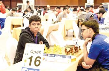 Priyamantha during his game against India's Sankalp Gupta