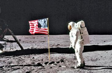 Neil Armstrong and the US flag.
