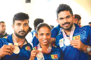 From left: Chathuranga Jayasuriya, Hansani Gomes and Indika Dissanayake