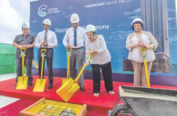 The topping out ceremony at the Colombo City Centre