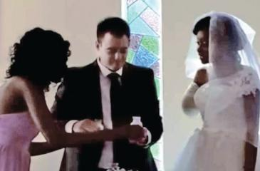 Englishman Jamie Fox married Zanele Ndlovu in Zimbabwe this weekend despite his bride being attacked by a crocodile several days before. Pic: YouTube