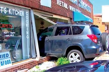 A vehicle driven by an 80-year-old Skokie man crashed through the front window of Captain Alex Seafood in Niles, police say.
