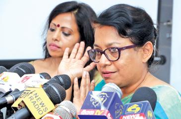 HRC Chairperson Dr. Deepika Udagama addressing the media to announce the HRC's achievement