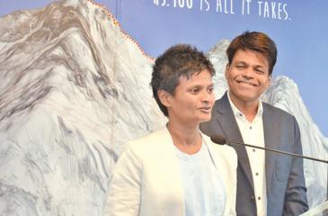 The first Sri Lankan man to conquer Mount Everest Johann Pieris with his partner Jayanthi Kuru-Uthumpala the first Sri Lankan woman to successfully scale the peak. Pic by Sarath Peiris