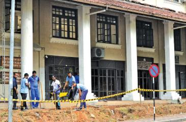 Navy personnel working round-the-clock to ensure that the building is ready by next month (Pic: Susantha Wijegunasekara)