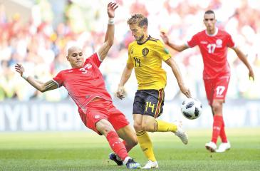 Action from the Belgium versus Tunisia World Cup match