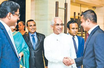 Chief guest State Minister of Finance, Eran Wickramaratne with company officials. Pic: Chaminda Niroshana