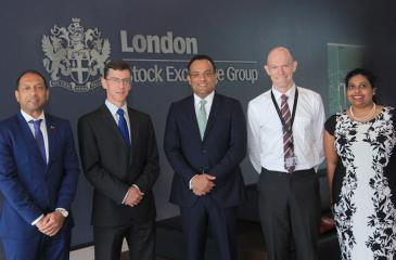 From left:  Michael Fernandopulle, Head of Trade and Investment, British High Commission, James Dauris, British High Commissioner to Sri Lanka and Ambassador to Maldives, Dee Liyanwela, Head of LSEG Sri Lanka, David Hall - Head of Infrastructure Services, LSEG Sri Lanka, Asanthi Fernando, Deputy Head of Trade and Investment, British High Commission.