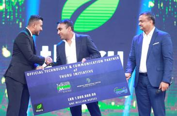 Launch of Mobitel Partnership with Thuru at the Kotiyak Vatina Adahasak Season Two with; (from left) Hasanka Padukka – Co-founder, Thuru (Kotiyak Vatina Adahasak Season 2 contestant), Mahela Jayawardena – Former Sri Lanka cricket captain and Brand Ambassador, Mobitel and General Manager, Enterprise Business, Mobitel, Prabhath Gamage.